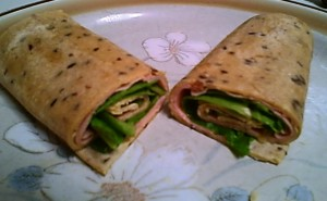Gluten-Free Agave Grain Sandwich Petals -- Shaved Bologna with Romaine Wrap