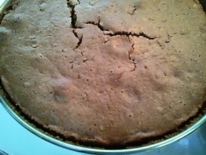 Cake is done when a pick inserted in the center comes out clean, and the edges begin to pull away from the pan. You can also see my fingerprints where I checked to see if it springs back when touched.