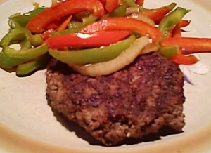 Beef Burger with Sauteed Peppers & Onion -- Gluten-Free