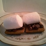"""Gluten-free Somemores- The gluten-free crackers I used this time were from """"The Grainless Baker"""" and were just the right size for one marshmallow each."""