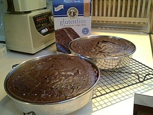 King Arthur Flour Gluten-Free Chocolate Cake, Baked and Cooling