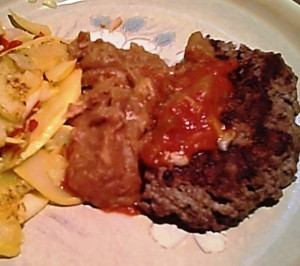 Gluten-Free Hamburger Steak and Sauteed Squash, Refried Beans