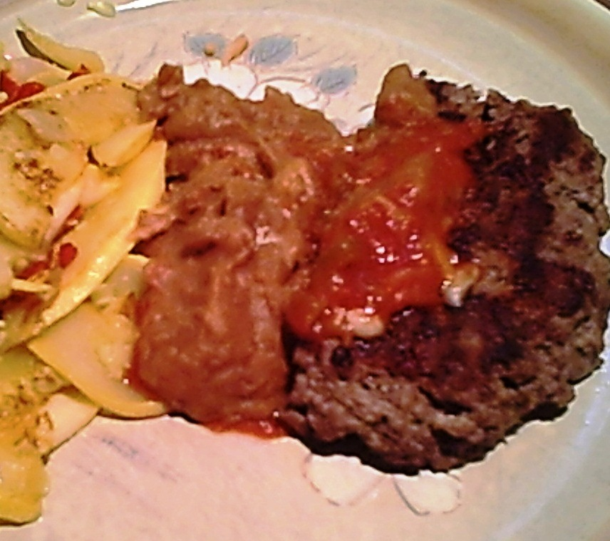 Gluten-Free Beef Burgers and Sauteed Squash, Refried Beans