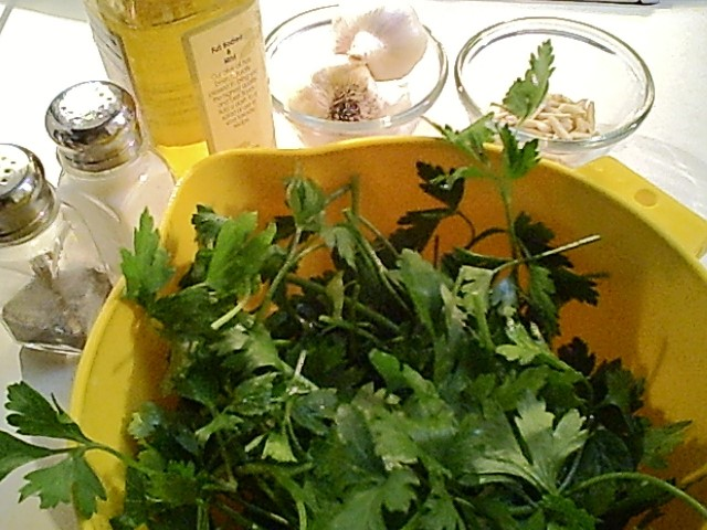 Parsley Pesto Ingredients Include Parsley, Almonds, Garlic, Parmesan and Oil