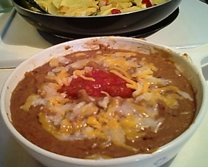 Refried Beans, Salsa, 4-Cheese Mexican Blend