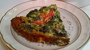 A Slice of Spinach, Cheddar and Monterey Jack Quiche