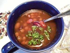 Gluten-Free Multibean Soup with Parsley Garnish