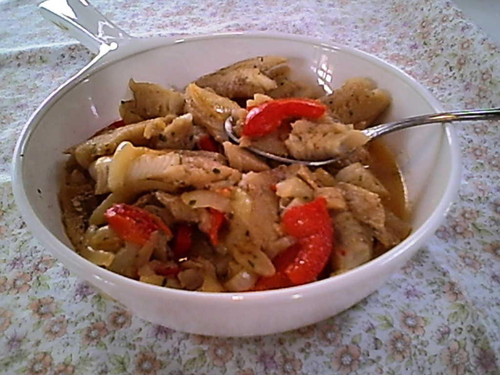 Cod Fillets Sauteed with Garlic, Onions and Peppers