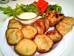 Gluten-Free Redskin 'skins on a Platter with Veggies, Dip and Biscuits