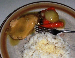 Easy Gluten-Free Chicken Breasts in the Crockpot for Two - Served with Gravy over Rice