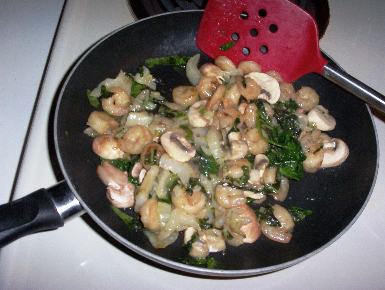 Shrimp Stir-Fry with Bok Choy, Mushrooms and Spinach
