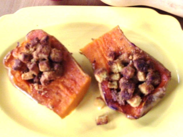 Gluten-Free Butternut Squash and Cornbread Stuffing with Herbs and Mushrooms