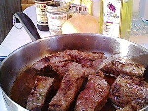 Beef Short Ribs Browning in the Skillet