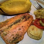 Gluten-Free Broiled Salmon, Baked Acorn Squash, Sauteed Onions Dinner