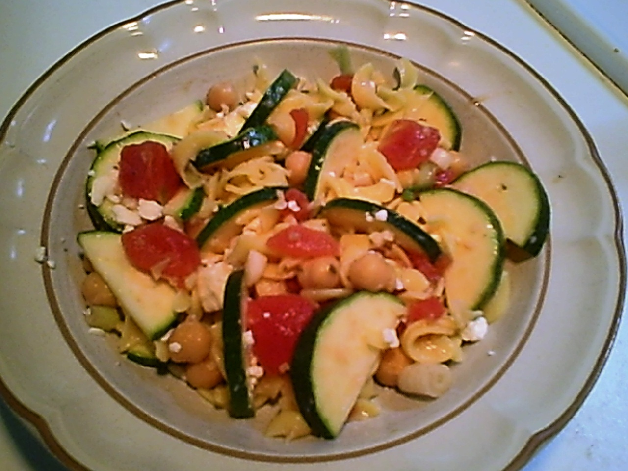 Garbanzo, Zucchini, Feta and Pasta Salad – Gluten-Free