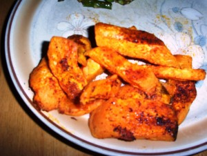 Gluten-Free Roasted Sweet Potato Wedges with Chili Powder