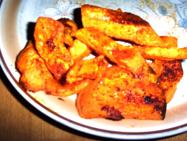 Gluten-Free Roasted Sweet Potato Wedges w Chili Powder