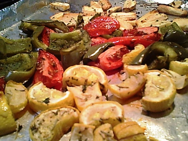 Roasted Parsnips, Peppers, Squash & Tomatoes With Rosemary