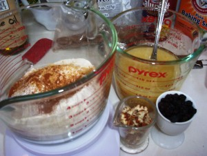 Dry Ingredients in a Mixing Bowl and Wet Ingredients in a Measuring Pitcher