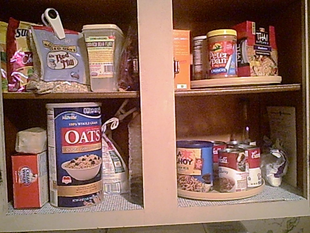 One of My Mixed Pantry Cabinets - GF on Top - Bottom Shelf is Gluten-y