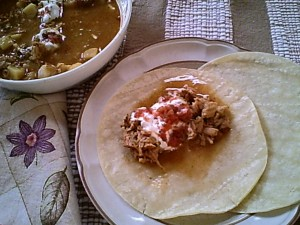 Gluten-Free Green Chili Pulled Pork over Bean Burritos