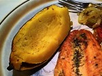 Broiled Salmon, Baked Acorn Squash, Sauteed Celery, Onions and Tomato for a Gluten-Free Dinner