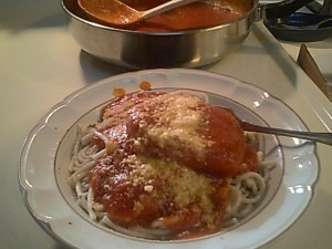 Boneless Pork Loin Chops and Pasta with Red Sauce and Parmesan