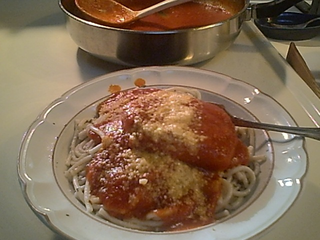 Pork Chops with Red Sauce and Pasta