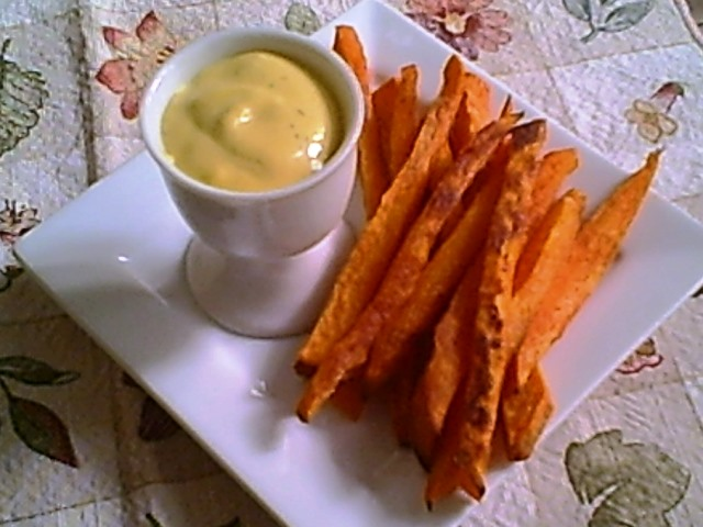 Mustard Dill Sauce with Roasted Sweet Potatoes