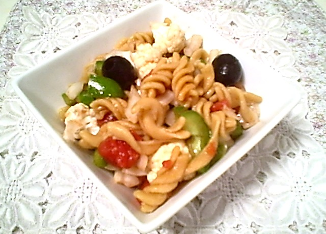 Gluten-Free Tolerant Organic Red Lentil Rotini Salad with Cauliflower, Peppers & Tomato - also Top 8 Allergen-Free