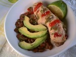 Chicken and Peppers Baked with Pintos, Avocado and Lime