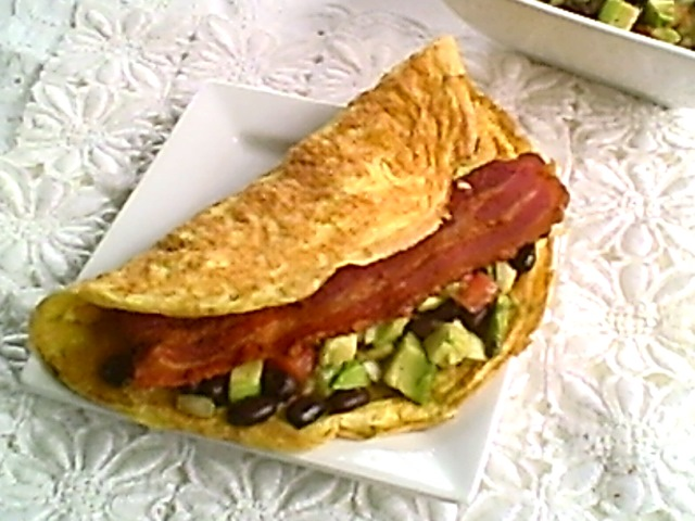 Gluten Free Avocado, Black Bean and Bacon Omelet