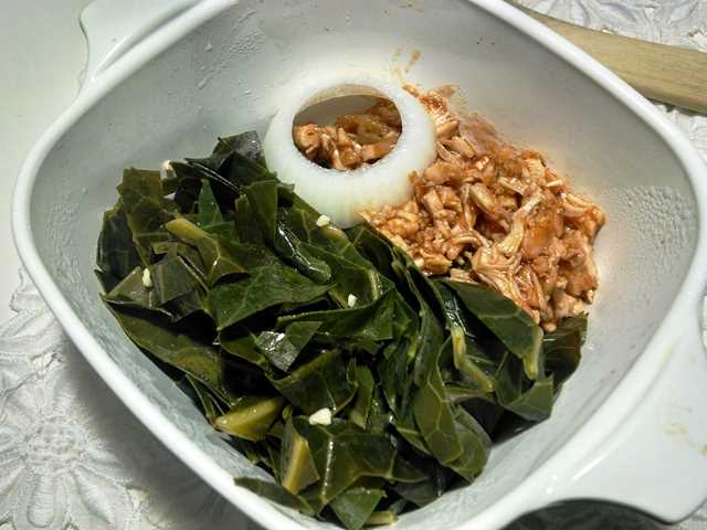 Collard Greens with Garlic and Lemon, Served with Crockpot Barbecue Chicken