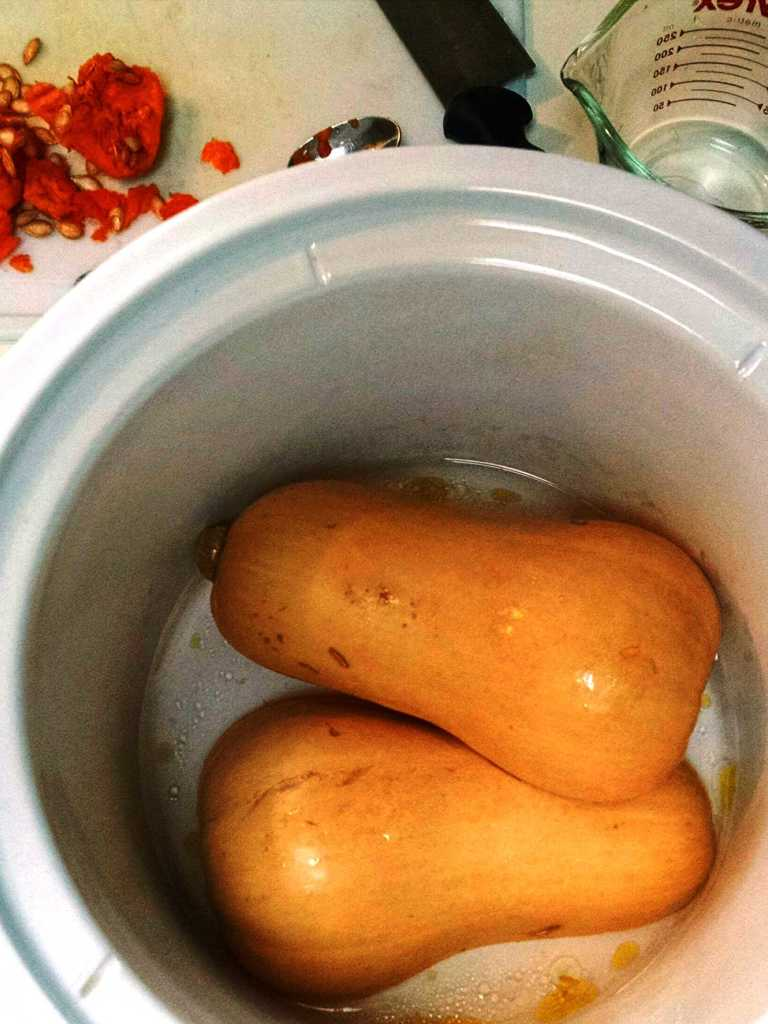 Raw Butternut Squash in the Slow Cooker