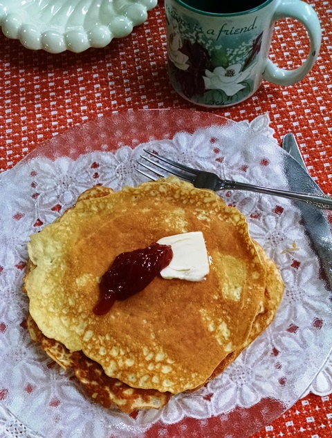 Almond Flour Crepes with Butter and Raspberry Topping for Brunch