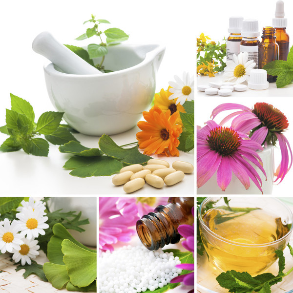 Collage of Natural Supplement Botanicals, Pills & Oils